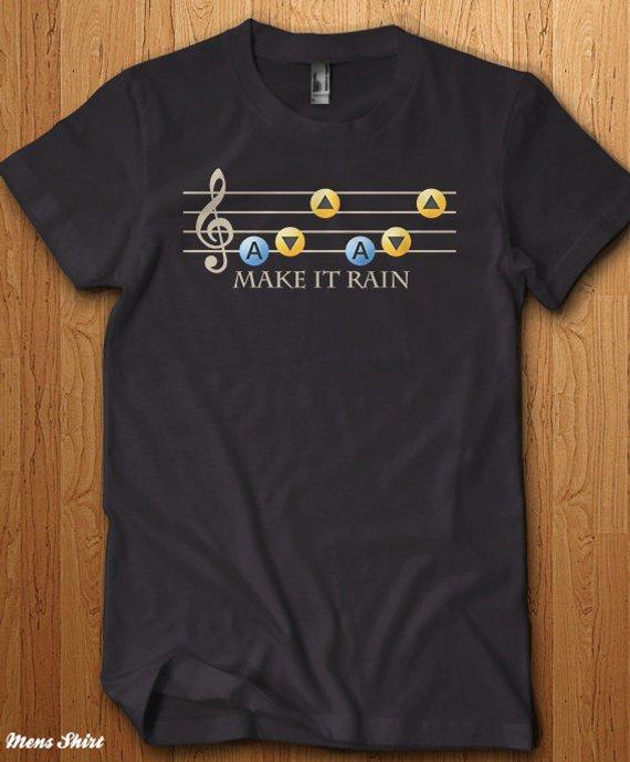 Zelda Shirt Make It Rain T Song Geek Gift Ideas For Him Nerd Gaming Link Skyrim Dungeon