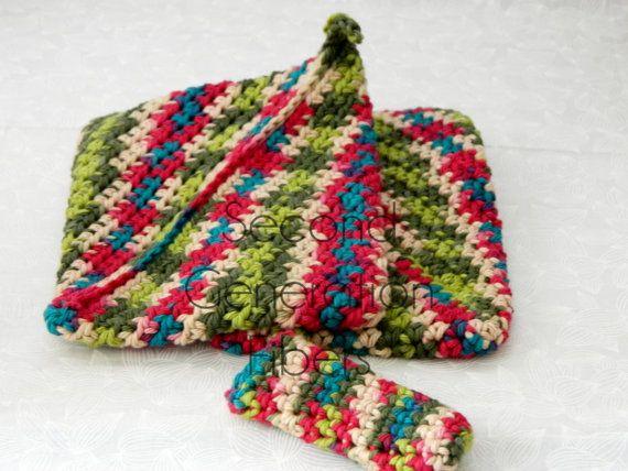 Crochet pot holder set, crochet potholder, hotpad, double thick ...