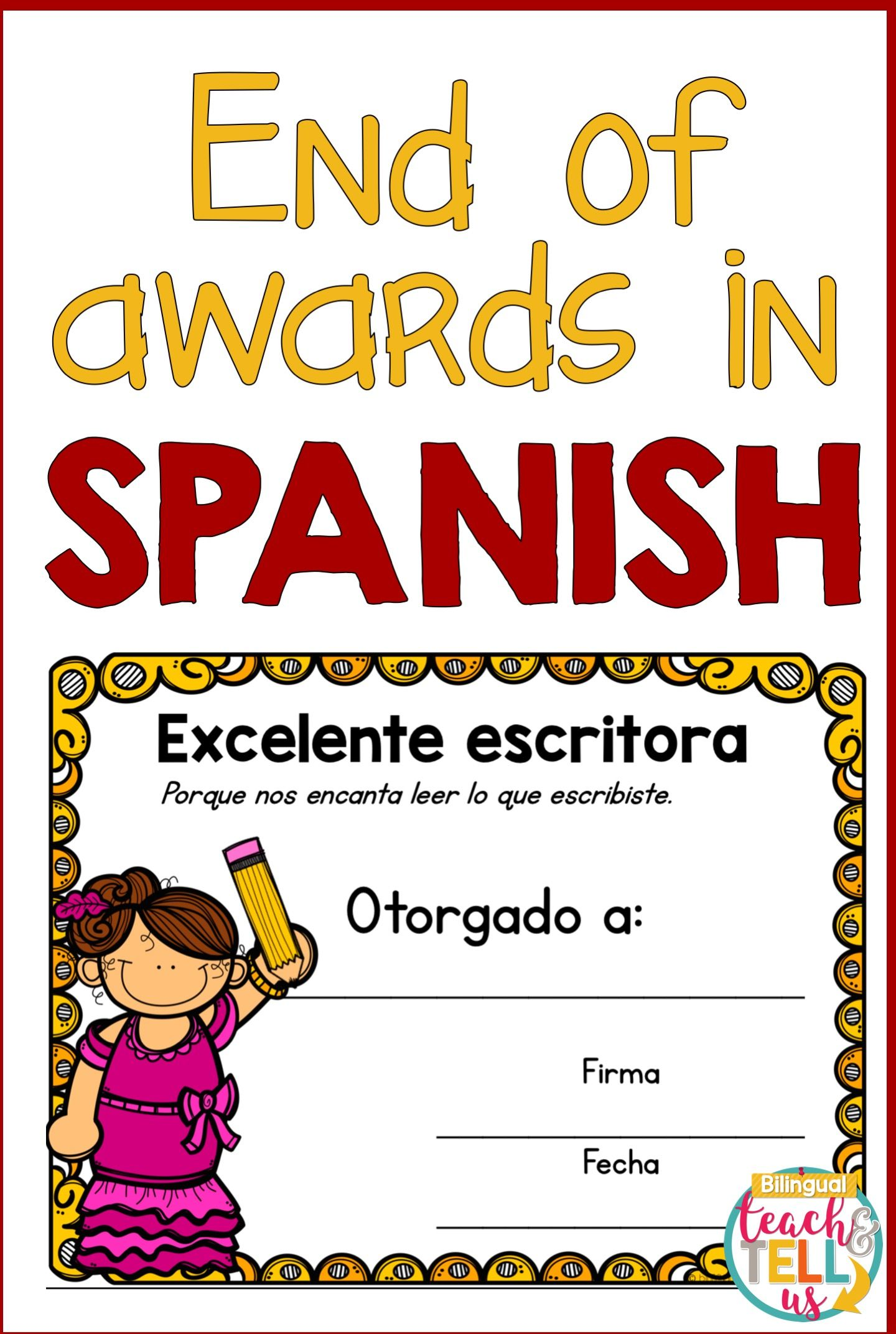 End Of The Year Awards Spanish Certificados Diplomas
