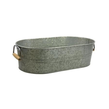Better Homes And Gardens Galvanized Steel Oval Party Tub With Wood Handles    Walmart.com