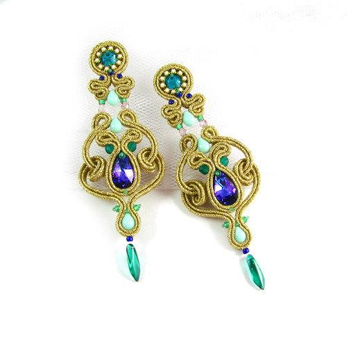 Soutache+earrings+dangle+openwork+gold+blue+by+byPiLLowDesign,+$120.00