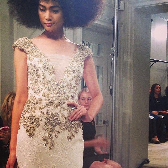 Amazing details on this gown by Badgley Mischka! #bridalweek #bridalmarket