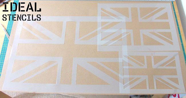 Union Jack stencils - buy online at ideal stencils - art craft wall decor stencils - http://www.idealstencils.co.uk/union-jack-reusable-stencil-1781-p.asp