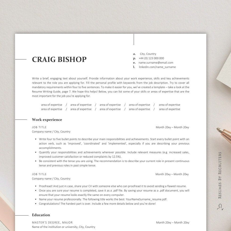 Minimalist ATS Resume Template, Instant Download 1 and 2
