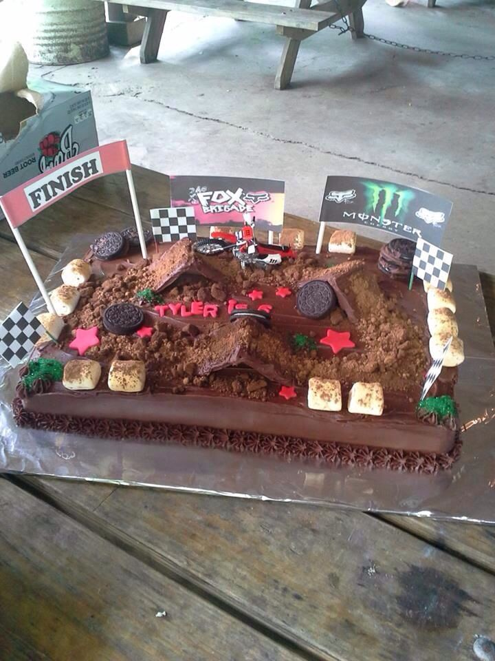 Dirt Bike Track Cake By Me With Images Dirt Bike Birthday
