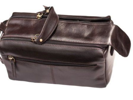 Mens Zipped Wide Opening Luxurious Quality Leather Wash Shaving Toiletry Bag