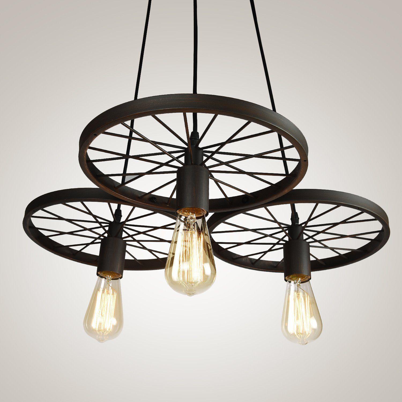 Edimom brand vintage style metal art simple wheel pendant light