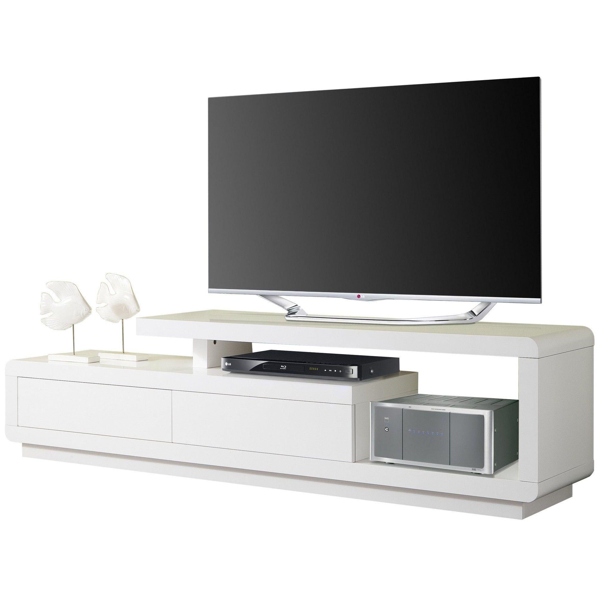 meuble tv design avec 2 tiroirs blanc