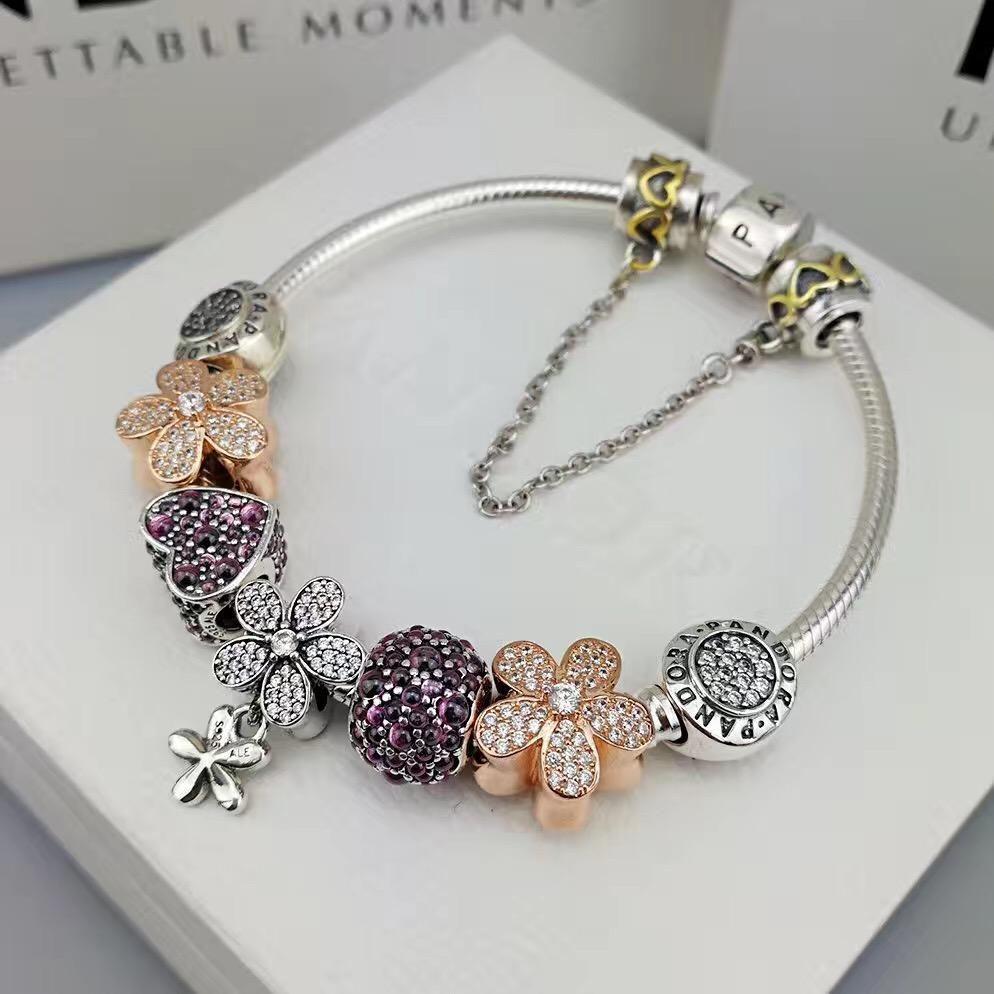 pandora luxury bracelet with charms 7 pcs | Bracelet pandora ...