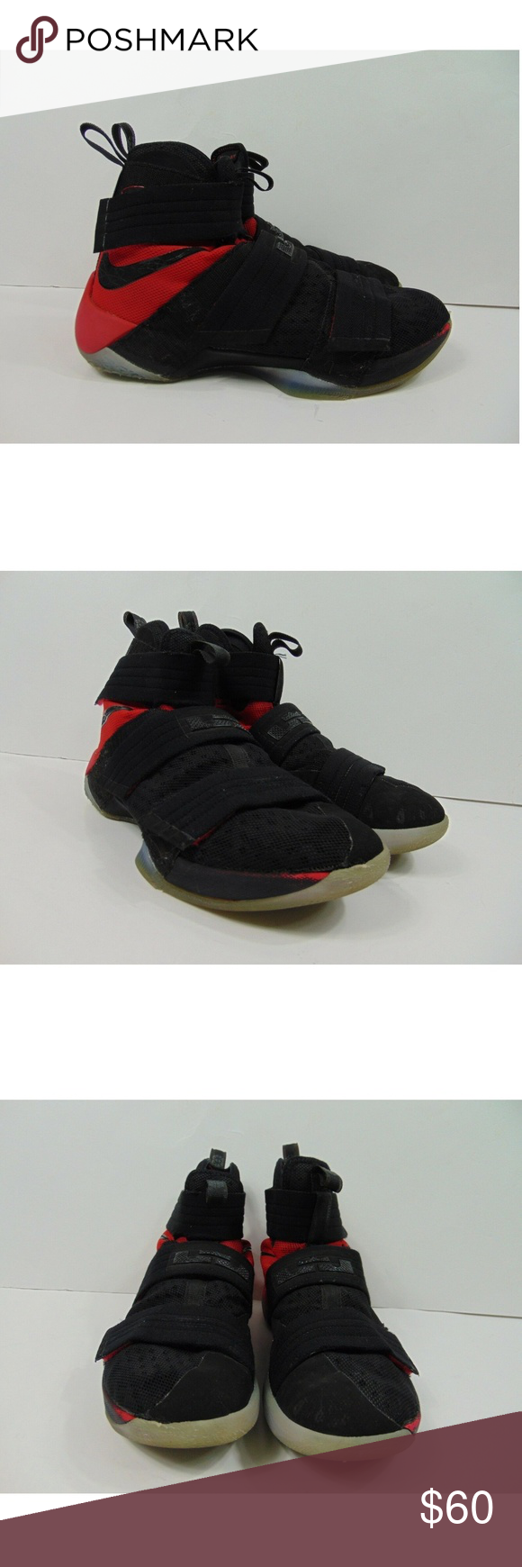4922e64ab5fe6 Nike LeBron Soldier 10 SFG Shoes Black Red Men 9 Nike LeBron Soldier 10 SFG  Basketball Shoes Velcro 844378-006 Black Red Men 9 Gently pre owned  condition No ...