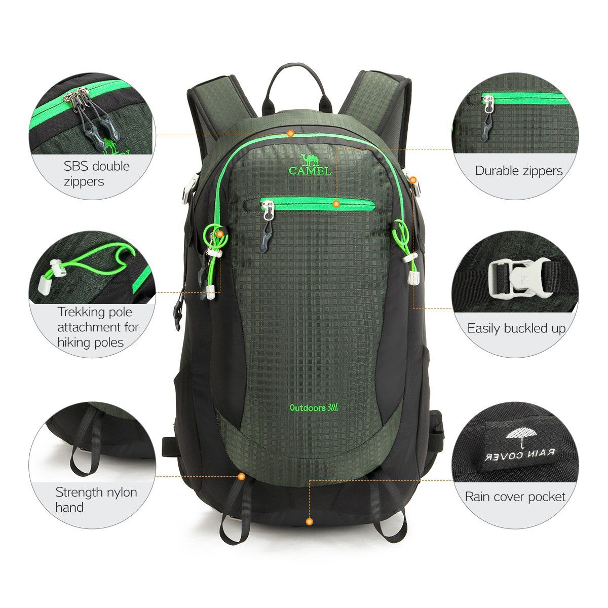 Camel Crown Hiking Backpack 30L Waterproof Outdoor Daypack for Camping  Climbing Trekking Mountaineering Back Pack for cbe5c27a9f
