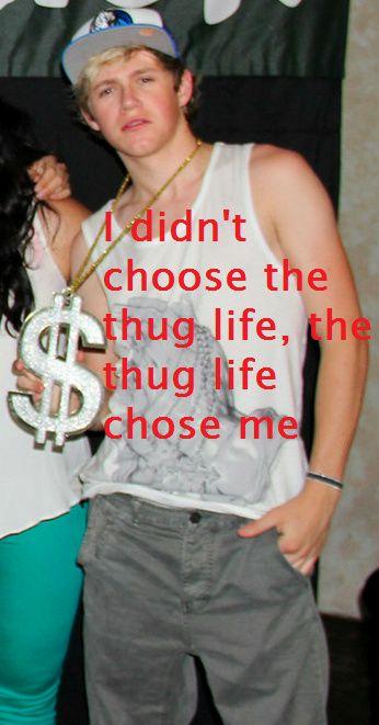 NIALL IS SO FUNNY HAHAHAHAHHAHAHAHAHAH peeeing!!! soooo funny, thug life chose me too baby <3333333