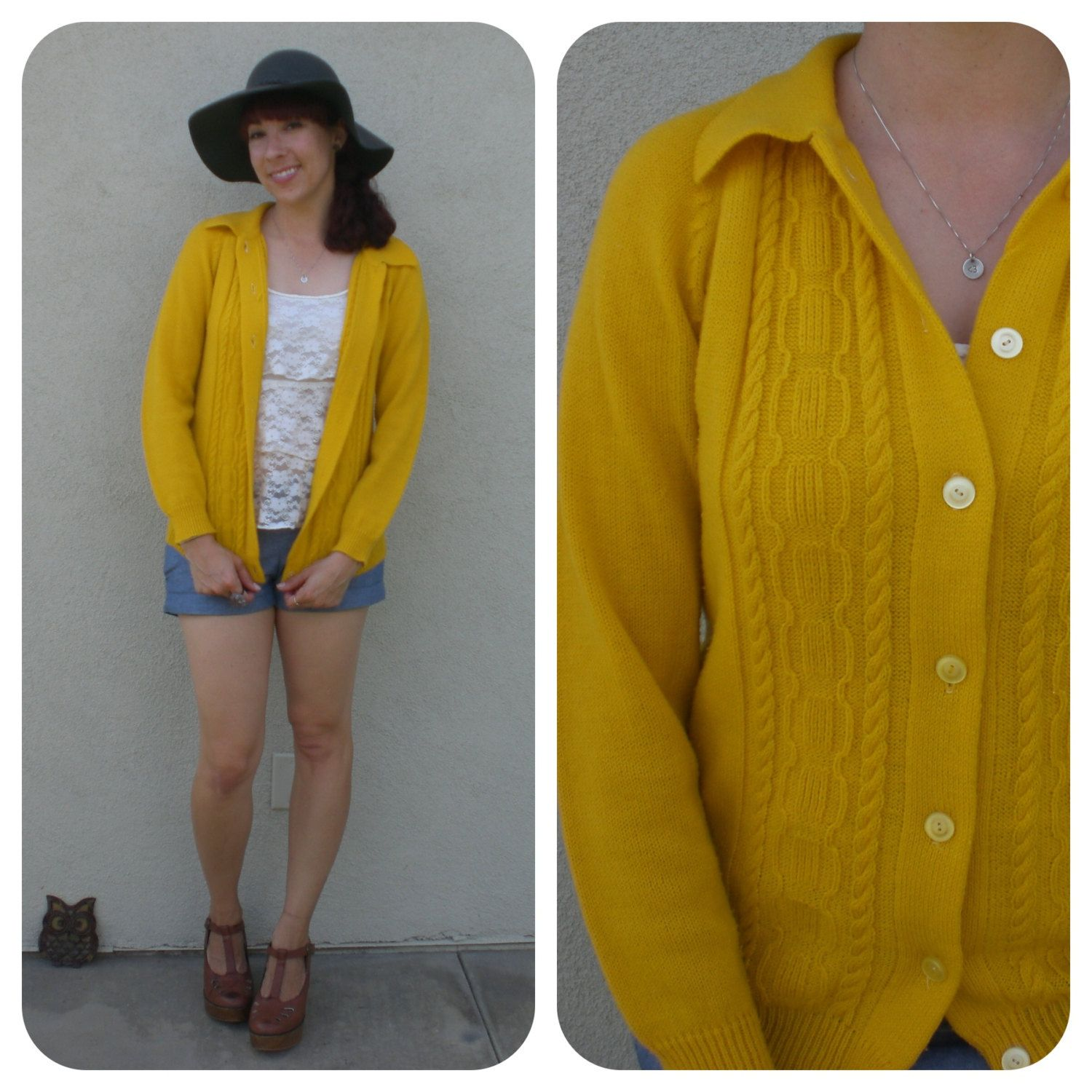 Vintage Mustard Yellow Cardigan Sweater 70s Cable Knit Button Up ...