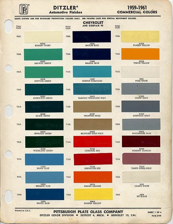 Gm Paint Codes >> 1959 Chevrolet Paint Color Code Chart 1959 Apache Paint Colors