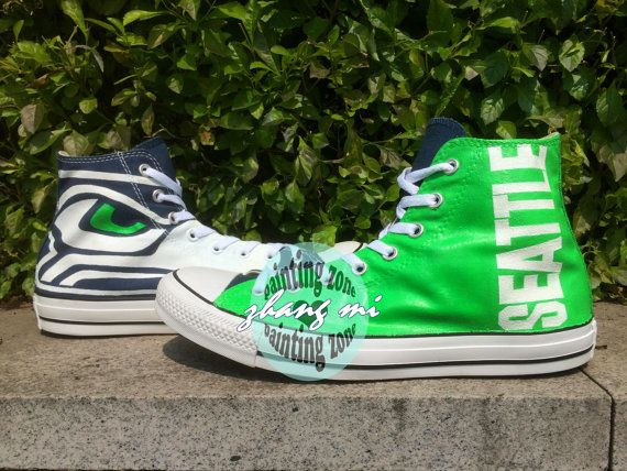 Seattle Seahawk Converse Green Converse Seattle Seahawk High Top Canvas  Sneaker Customizable Hand Painted Shoes American Football 0695bf831