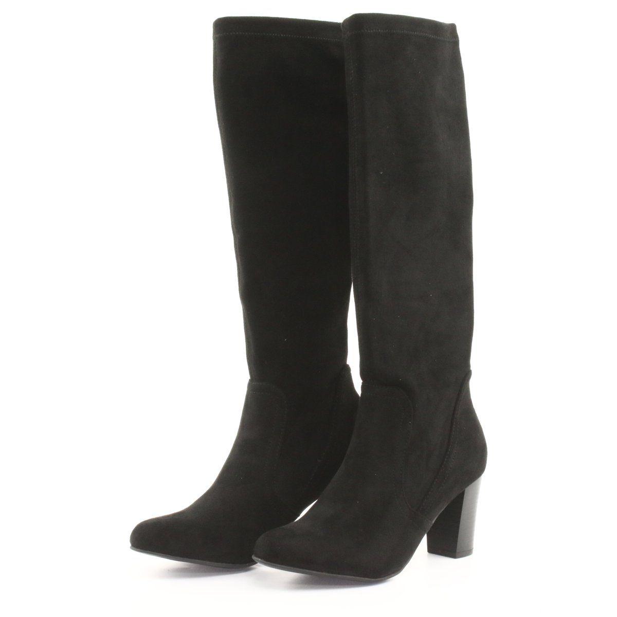 Kozaki Damskie Stretch Caprice Czarne Womens Boots Black Boots Women Boots