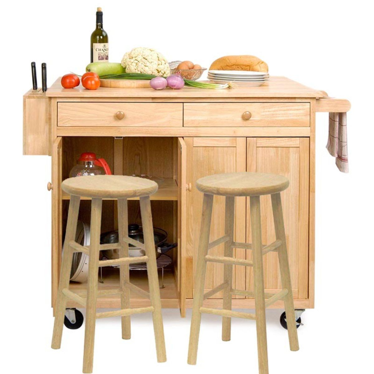 The Vinton Portable Kitchen Island with Optional Stools - Kitchen ...
