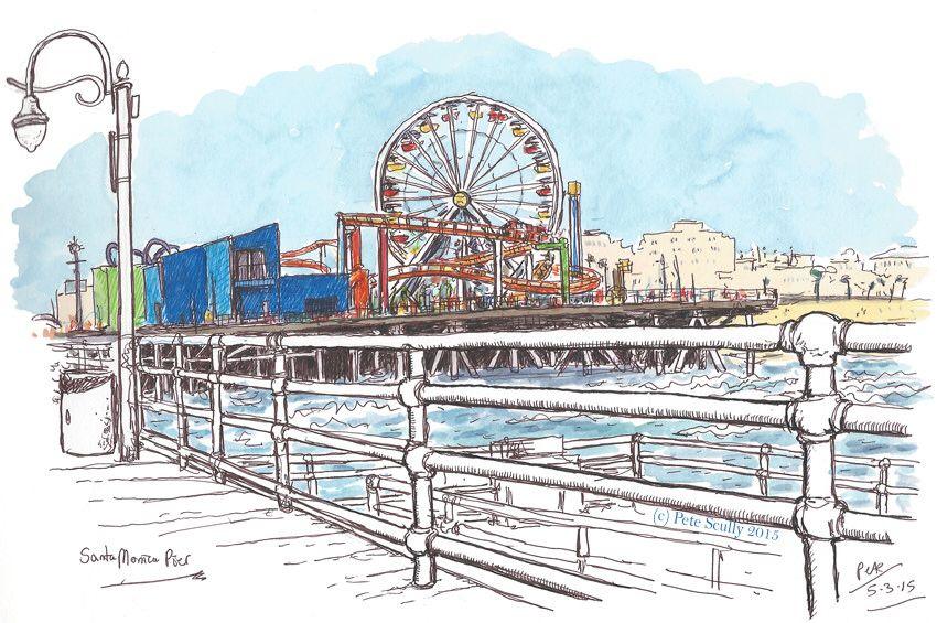 Santa Monica Pier Santa Monica Art City Sketch Santa Monica