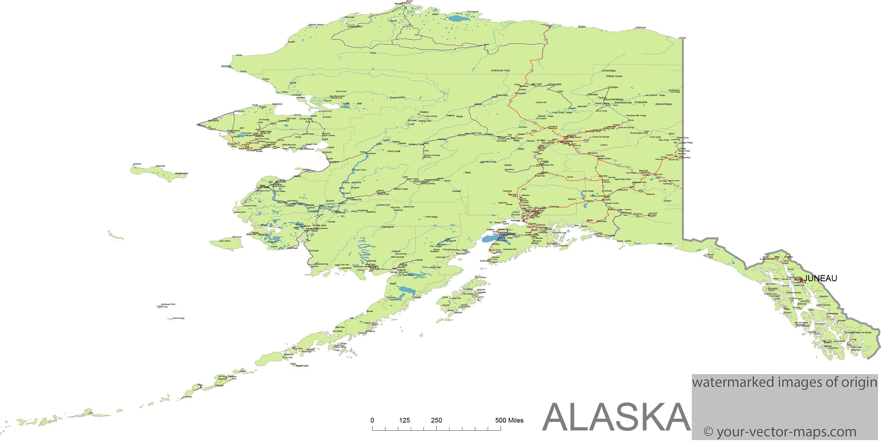Alaska State Route Network Alaska Highways Map Cities Of Arkansas Main Routes