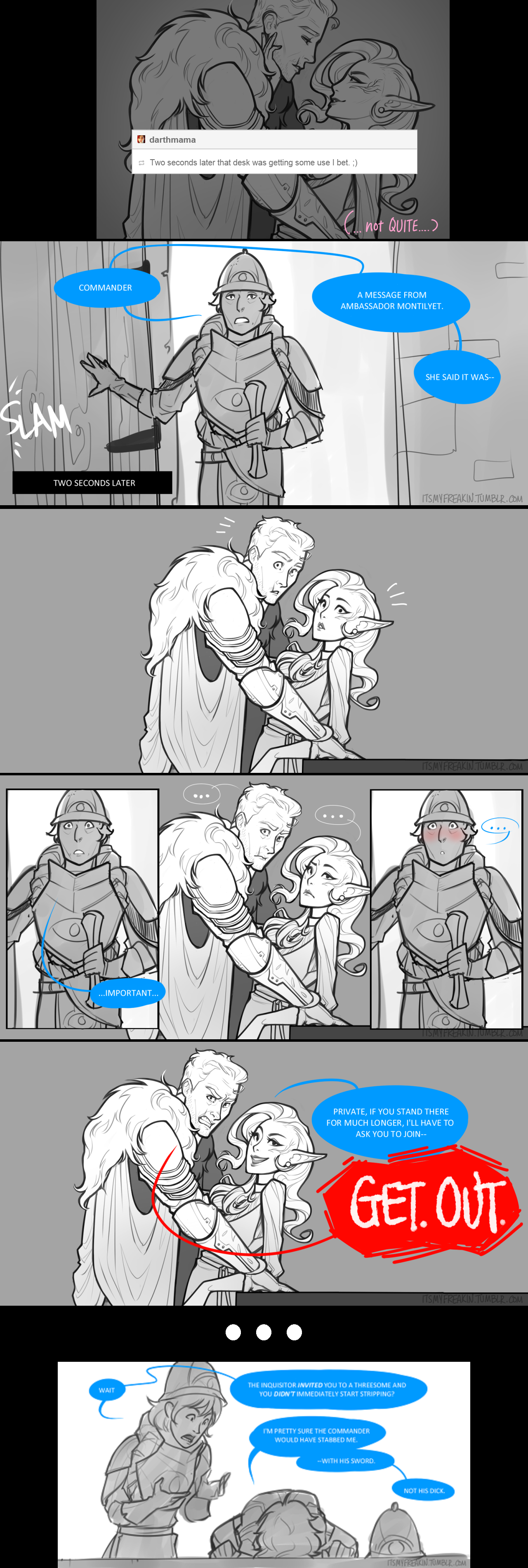 XD Cullen and inquisitor and almost Private! Full  comic  Love this pairing and the style!