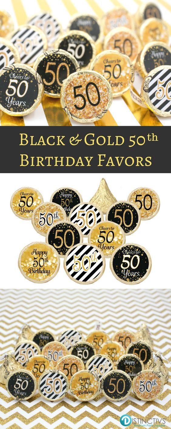 Black and Gold 50th Birthday Party Favor Stickers Set of 324