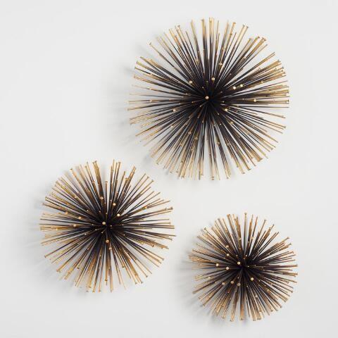 Gold Sea Urchin Wall Decor Set Of 3 World Market