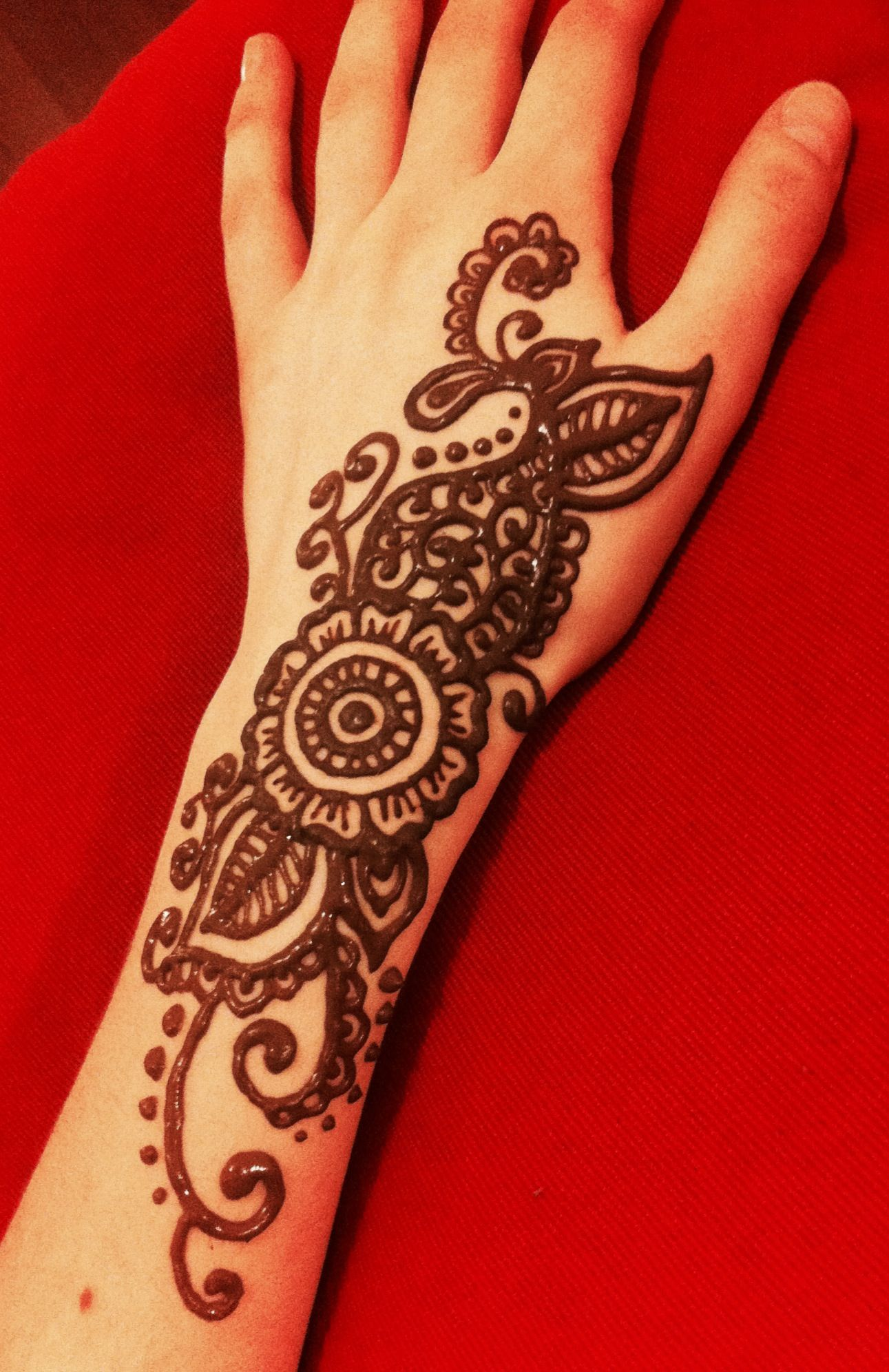 Mehndi Patterns For Arms : Flower swirly henna on my arm designs pinterest