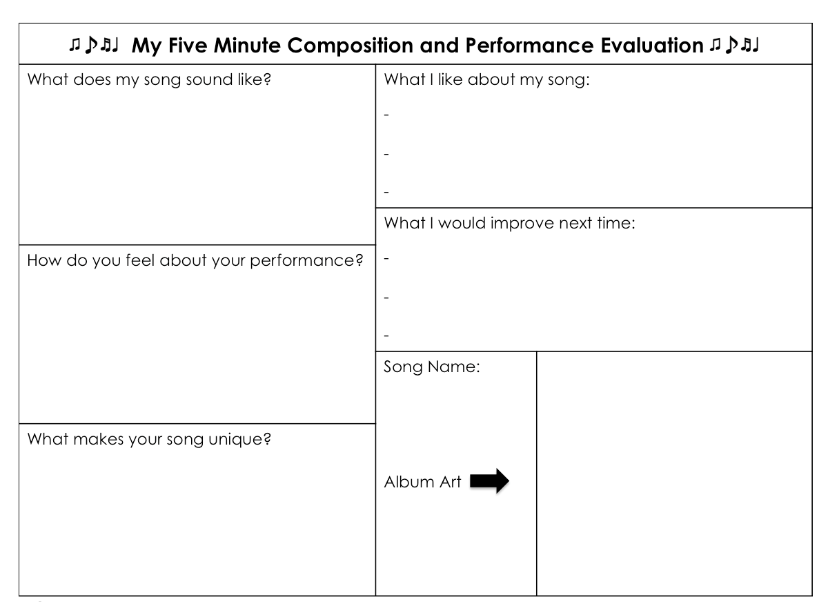 Composition And Performance Evaluation. Ks2 Music. Primary Music.