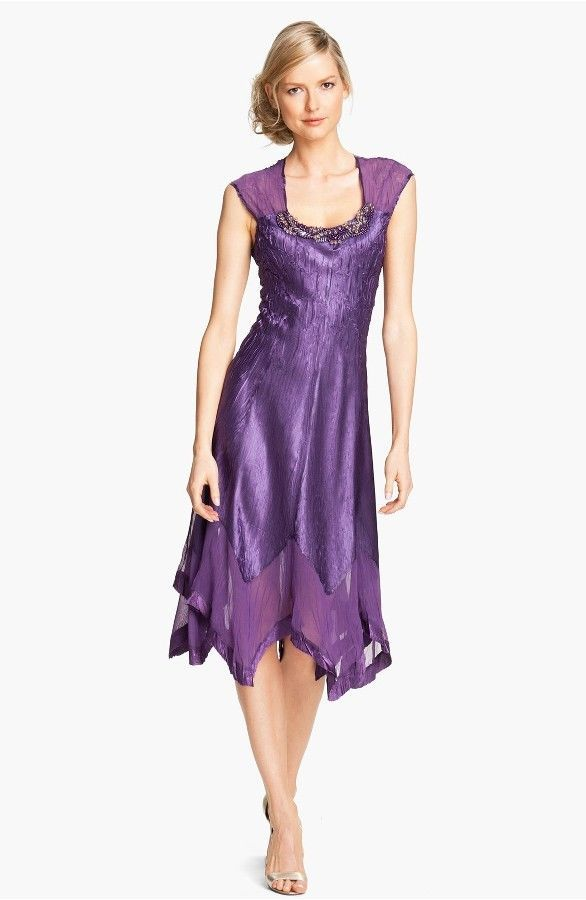 NWT KOMAROV Handkerchief Hem Charmeuse Dress #155 PURPLE P/XL