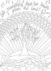 Flame: Creative Children's Ministry: Printable Reflective Worship Colouring Sheet: Psalm 150