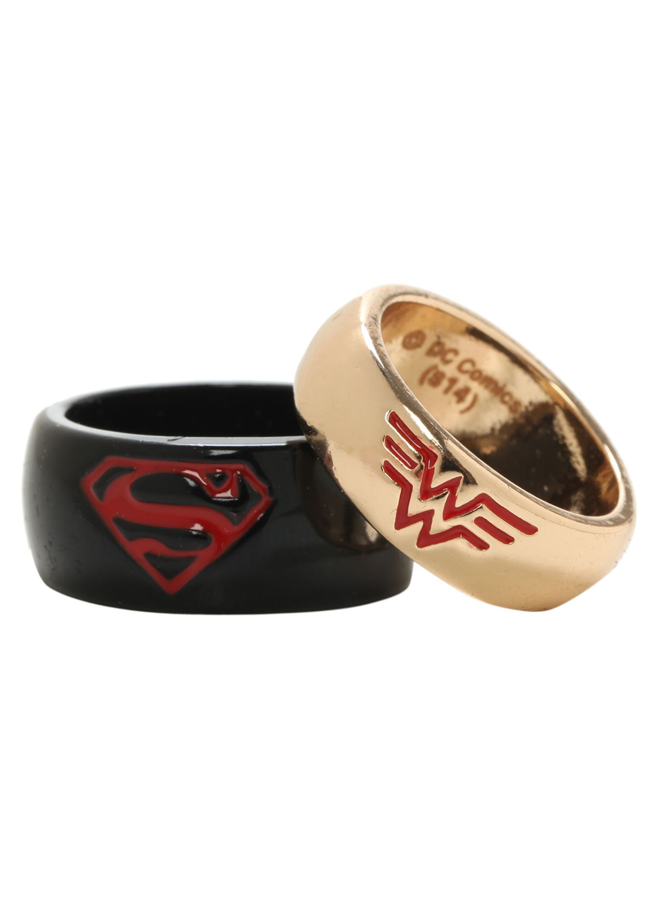 i lost my wedding rings when we were on vacation my niece got me these as a temporary replacement kinda love that even if im more of a batman girl dc - Superman Wedding Rings