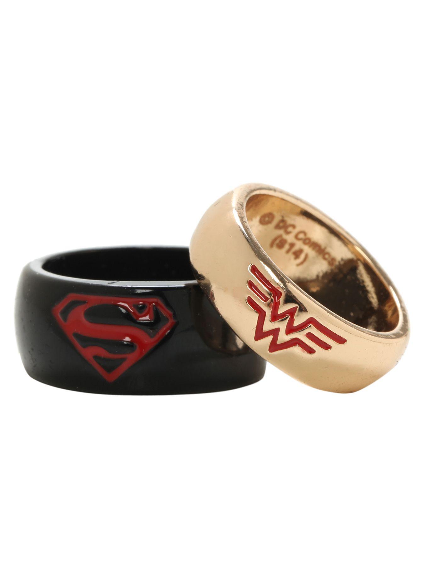 Dc Comics Superman Wonder Woman His Hers Medium Ring Set Hot Topic