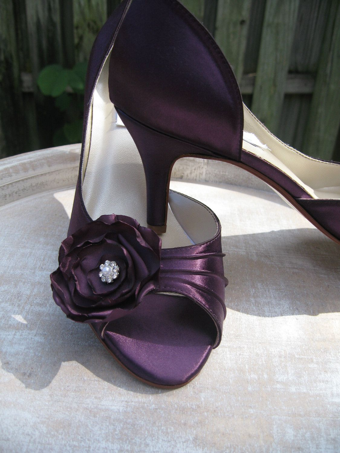 Purple Eggplant Bridal Shoes With Satin Flower By Abiddabling 135 99 Purple Wedding Shoes Purple Bridesmaid Shoes Bridal Shoes