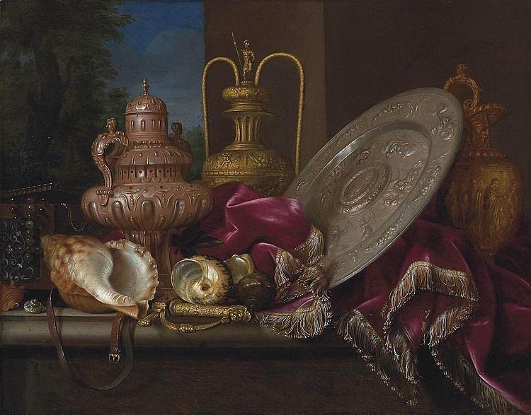 Meiffren Conte (ou Comte) (v.1630-1705) – Nature morte au plat d'argent, coquillages et épée – New York, The Metropolitan Museum of Art