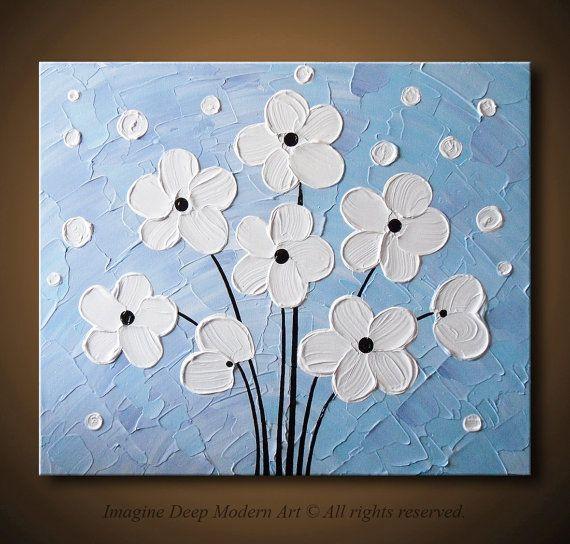 White Flowers Painting Light Blue Purple By ImagineDeepModernArt 11500