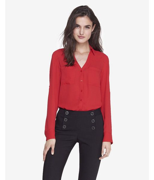 831fe3ae56148 Owned - Red button down blouse with convertible sleeves. Red appears darker  in standard lights. Satin like finish.