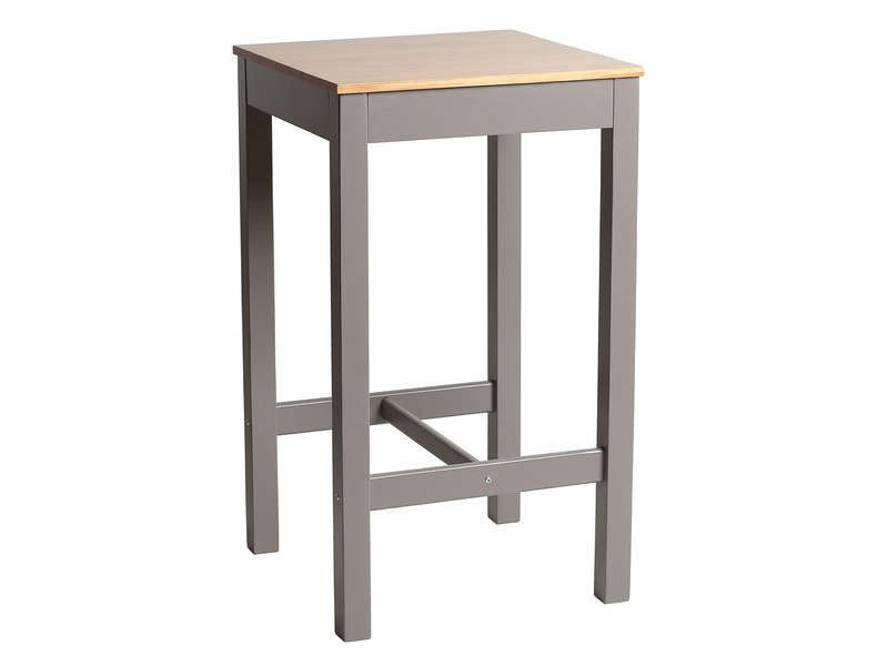 Table haute 60x60 cm BRUGES coloris gris/chêne - Vente de Table - Conforama Tables De Cuisine