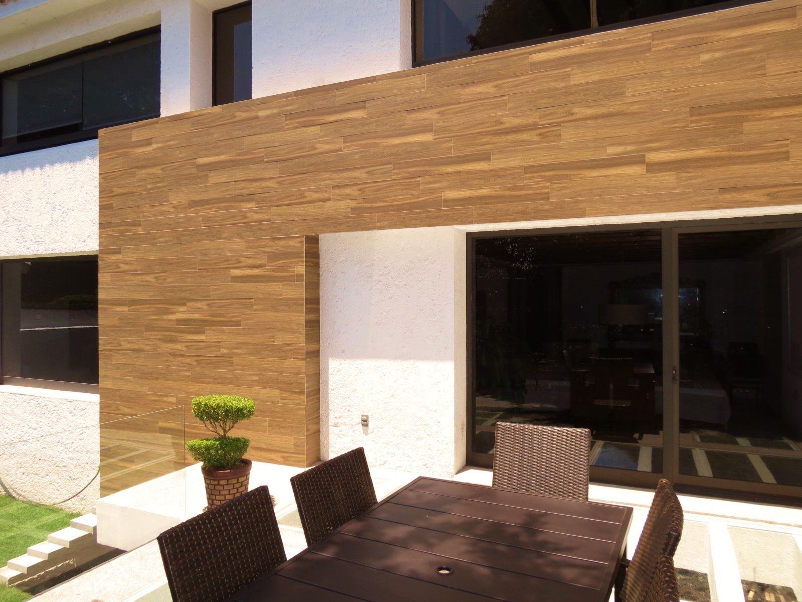 Tratamiento de la fachada con cer mica porcel nica - Imitacion madera para fachadas ...