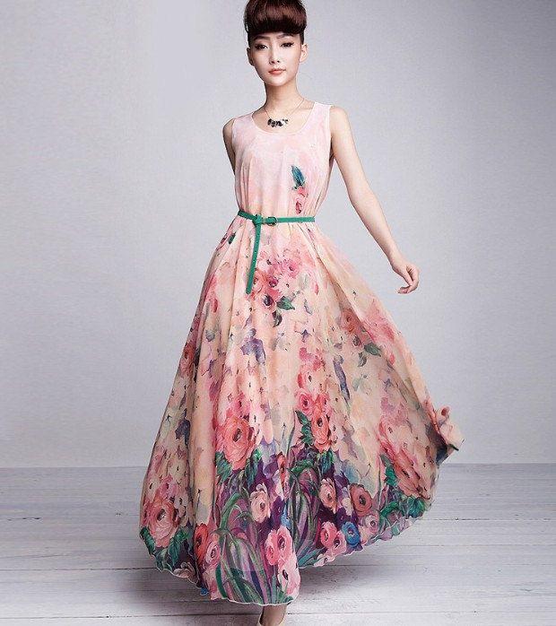 Vestido longo florido aliexpress