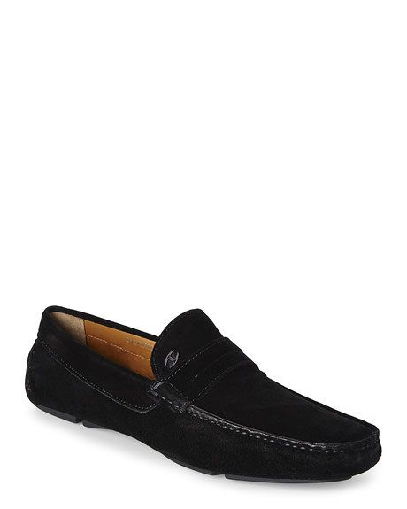 JUST CAVALLI Black Suede Driving Shoes
