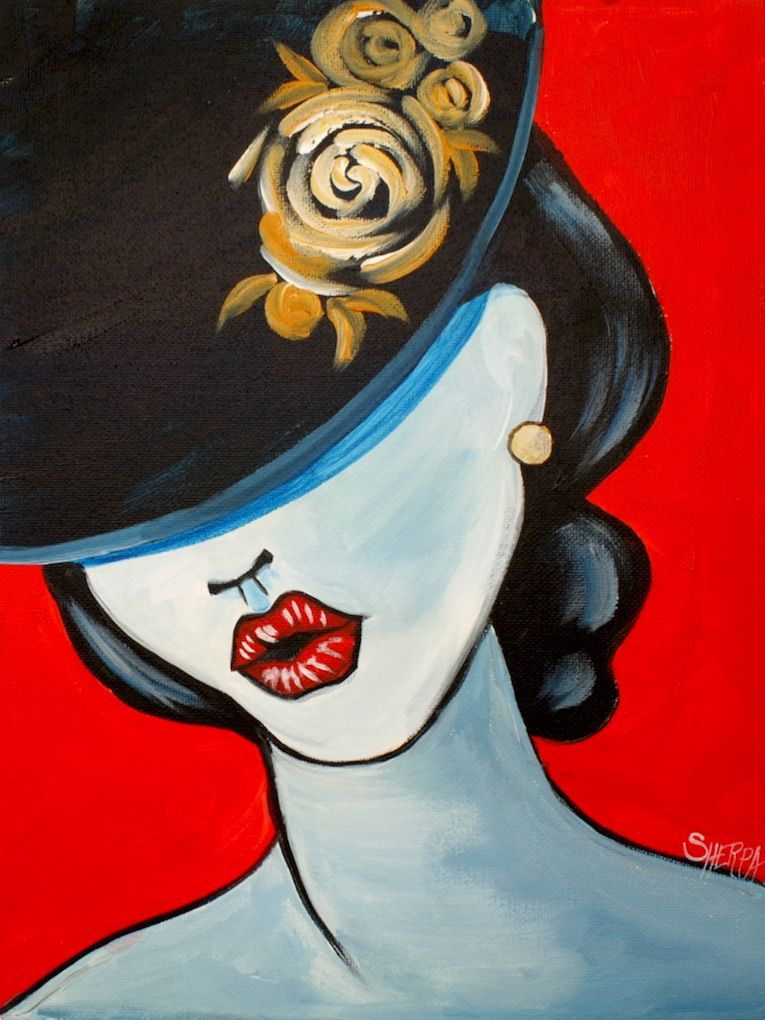 """Learn to paint a Girl face with a Hat in Black, Red, and White in Acrylic on canvas for beginners in a pop art style. In """" le chapeau"""" I will show an easy way to do fashion illustration style painting with a POP art feel. I demo how to Transfer an image on a canvas so you do not have to draw this in. You can do this in any paint colors you like. Easy and simple for new painters.  You can find the Traceable at https://theartsherpa.com/"""