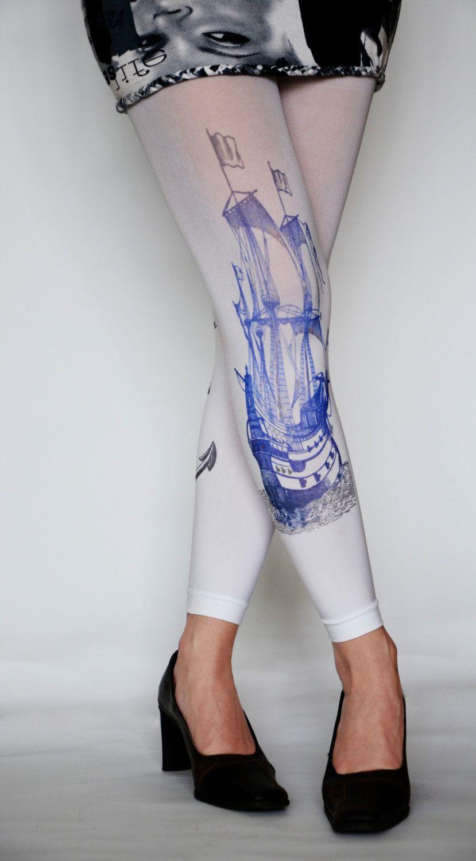 9d4282308d0ff White Pantyhose Tights Navy Blue Print Ship Sailor Anchor Leggings Tattoo  Tights Footless Pantyhose Handmade. via Etsy.