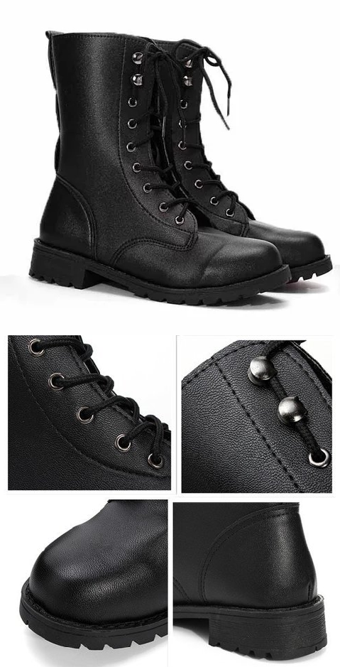 Free Shipping! Shop Now! Retro Pu Black Knight Lace Up Flat Ankle Boots fd78231080e1