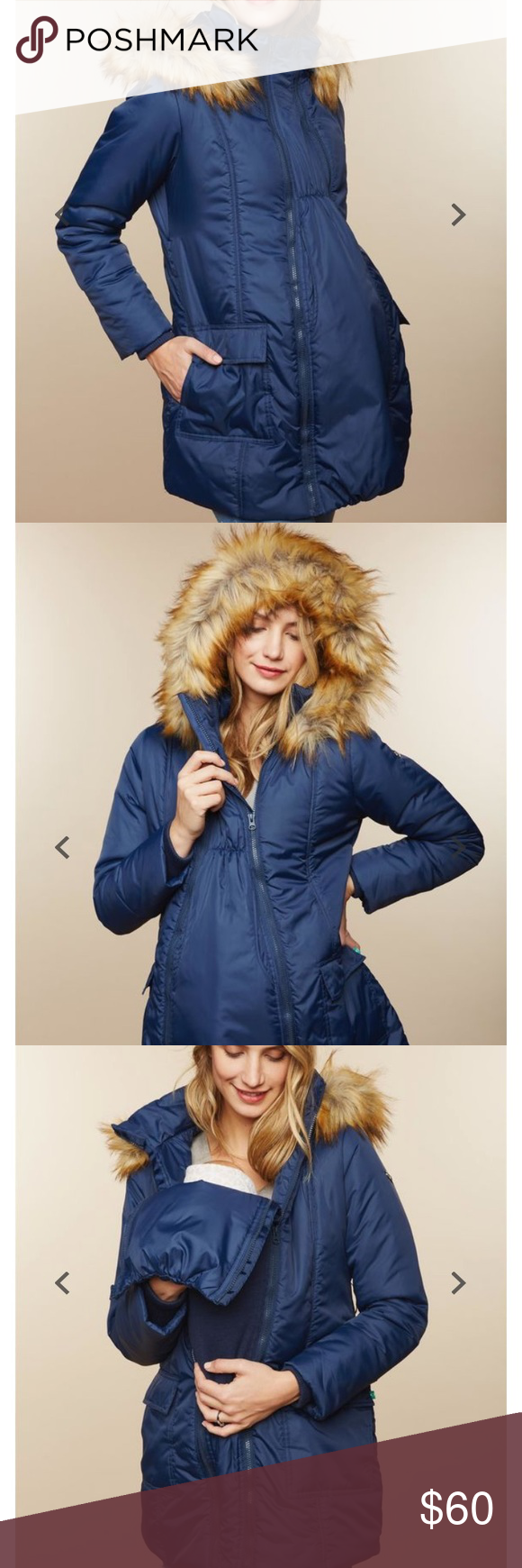 New Look Maternity Navy Belted Long Puffer Jacket
