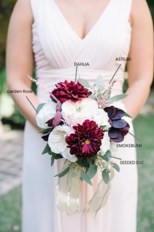 Tiger Lily Weddings - Dahlias, Garden Rose, Astilbe, Bouquet Breakdown, Ivory, Eggplant, #tigerlilyweds