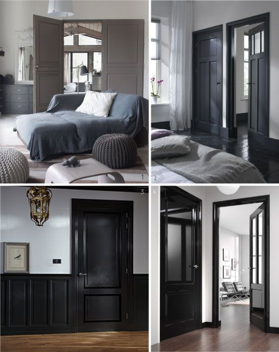 peindre ses portes en noir et gris d co pinterest en. Black Bedroom Furniture Sets. Home Design Ideas