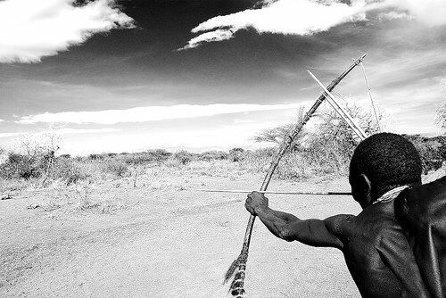 A hunter gatherer from the Hadza tribe,, Africa