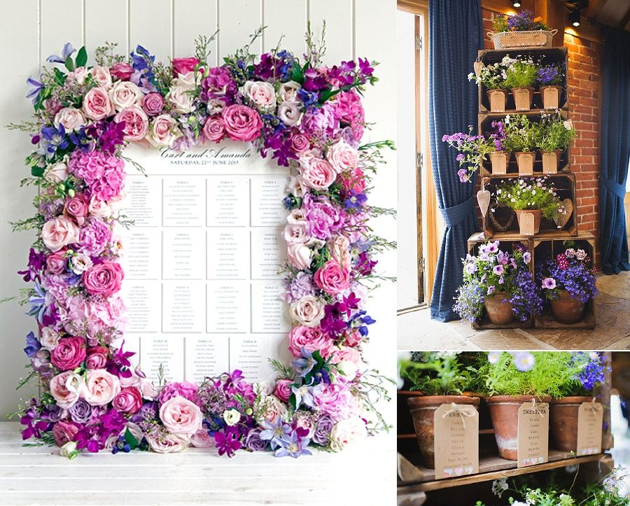 Floral frame seating plan wedding decor table