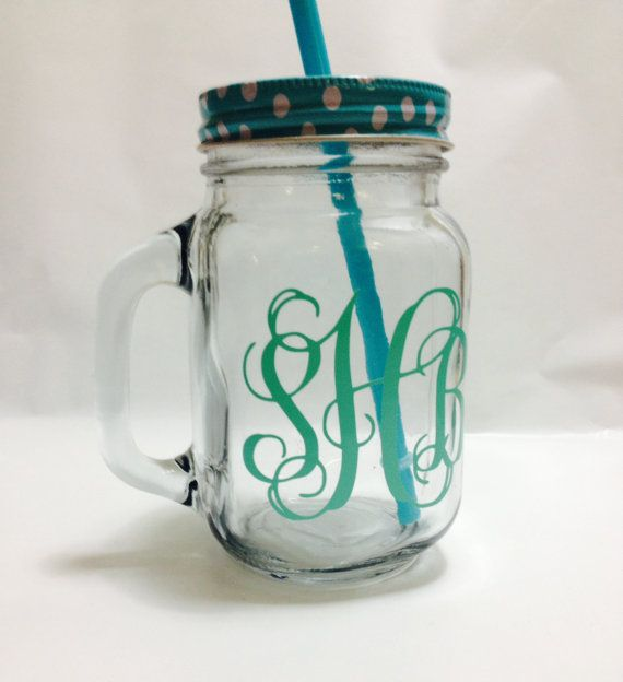 This listing is for one custom glass mason jar with a personalized vinyl monogram.  --Mason Jar is made of real glass, not plastic or