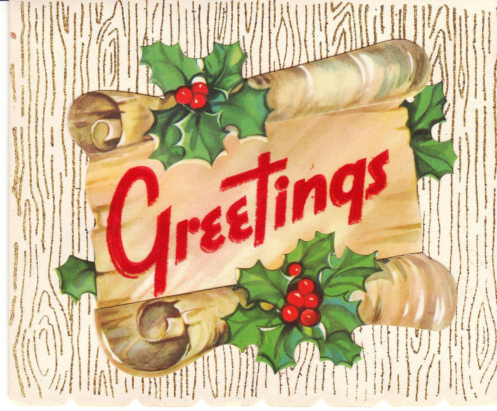 vintage christmas card greetings scroll flocked glitter holly unused